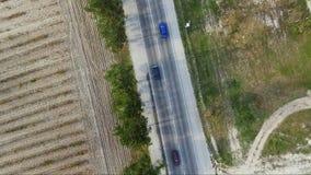 воздушное strandja съемки горы Болгарии Взгляд от вершины пригородного шоссе акции видеоматериалы