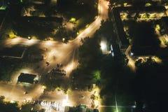 Воздушное Townscape на ноче стоковая фотография