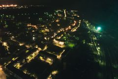 Воздушное Townscape на ноче стоковое фото rf