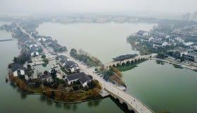 Воздушные внутренние озера Сучжоу Стоковая Фотография