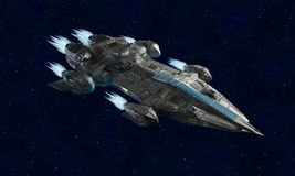 Воздушные судн космического корабля для перевода научной фантастики 3d корабля чужеземца иллюстрация штока