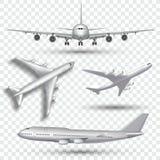 Воздушные судн, самолет, авиалайнер в различном векторе точки зрения Комплект иллюстрации лицевой стороны и верхней части самолет иллюстрация штока
