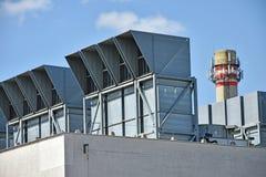 Воздушные фильтры и стог дыма электростанции Стоковая Фотография RF