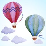 Воздушные шары акварели Иллюстрация вектора