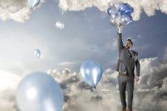 Воздушные шары бизнесмена reacing иллюстрация вектора