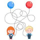 Воздушные шары владением мальчика и девушки Стоковые Фото