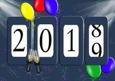 Воздушные шары и одометр 2019 Новых Годов Стоковая Фотография
