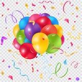 Воздушные шары и предпосылка confetti прозрачная Стоковая Фотография
