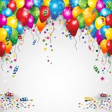 Воздушные шары и confetti партии Стоковые Фотографии RF
