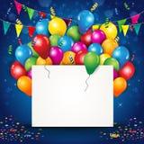 Воздушные шары и Confetti с билетом и флагами Стоковое Изображение RF