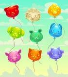 Воздушные шары красочного лоснистого летания в форме животн иллюстрация вектора