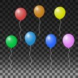 Воздушные шары на прозрачной предпосылке Иллюстрация вектора для идей праздника иллюстрация штока