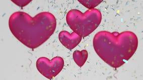 Воздушные шары сердца летания окруженные путем падая сияющий confetti сток-видео