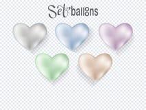Воздушные шары сердца прозрачные на предпосылке иллюстрация штока
