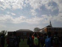 Воздушные шары средней школы стоковое изображение