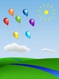 Воздушные шары с ландшафтом Стоковая Фотография