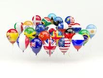 Воздушные шары с флагами иллюстрация вектора