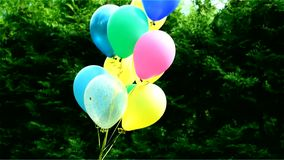 Воздушные шары - украшение праздника детей в природе сток-видео