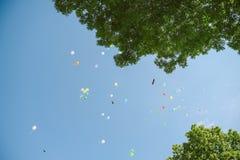 Воздушные шары i небо стоковое изображение rf
