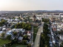 Воздушный взгляд вертолета гостиницы Frontenac замка и старого порта в Квебеке (город) Канаде Стоковые Фотографии RF