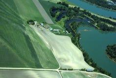 воздушный взгляд весны фермы Стоковые Изображения