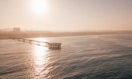 Воздушный взгляд восхода солнца пристани пляжа Венеции Стоковая Фотография