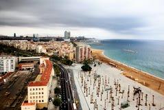 воздушный взгляд гавани города barcelona стоковые изображения rf
