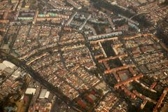 воздушный взгляд городка df Мексики города самолета Стоковое Изображение
