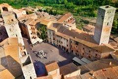 воздушный взгляд городка san gimignano Стоковые Фотографии RF