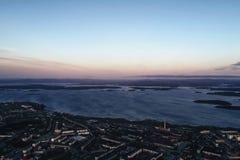 Воздушный взгляд залива Townscape Стоковое Фото