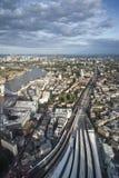 Воздушный взгляд ландшафта горизонта городского пейзажа Лондона с иконическим Ла Стоковое Изображение RF