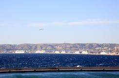 воздушный взгляд марселя гавани города стоковые фото