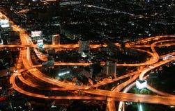 воздушный взгляд ночи пересечения стоковое фото rf