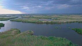 воздушный взгляд озера сток-видео