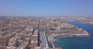 Воздушный взгляд панорамы старой столицы Валлетты, Мальты видеоматериал