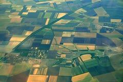 воздушный взгляд сельскохозяйственнй угодье Стоковые Изображения RF