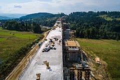 Воздушный взгляд трутня на строительстве дорог Стоковое Изображение RF