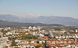 воздушный взгляд ljubljana Стоковое Изображение