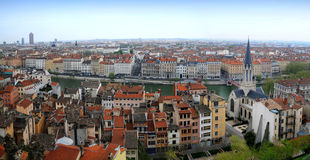 воздушный взгляд lyon панорамный Стоковые Фотографии RF
