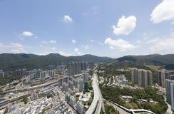 Воздушный взгляд panarama на Shatin, Tai болезненном, Реке Shing Mun в Гонконге Стоковое фото RF