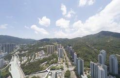 Воздушный взгляд panarama на Shatin, Tai болезненном, Реке Shing Mun в Гонконге Стоковое Изображение RF