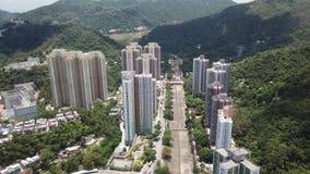 Воздушный взгляд panarama на Shatin, Tai болезненном, Реке Shing Mun в Гонконге сток-видео