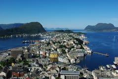 воздушный взгляд sity Норвегии alesund Стоковая Фотография RF