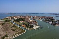 воздушный взгляд venice murano Италии острова стоковые изображения rf