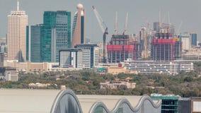 Воздушный городской пейзаж утра с архитектурой timelapse Дубай городского, Объениненных Арабских Эмиратов видеоматериал