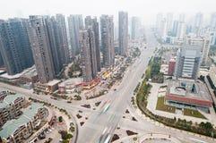 воздушный город над взглядом Стоковое Изображение RF