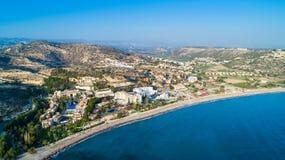 Воздушный залив Pissouri, Лимасол, Кипр Стоковое Фото