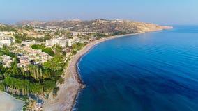 Воздушный залив Pissouri, Лимасол, Кипр Стоковое Изображение