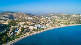 Воздушный залив Pissouri, Лимасол, Кипр Стоковая Фотография RF