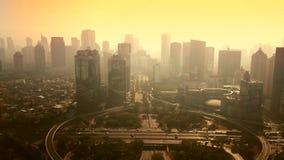 Воздушный ландшафт моста Semanggi на twilight времени видеоматериал
